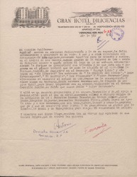 Carta firmada por Antonio y Encarnita [?] a Guillermo Fernández-Shaw, contestando a su felicitación y anunciando su viaje a Madrid, en el próximo mes de abril.