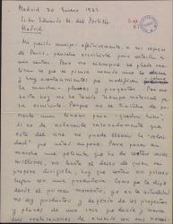 Carta de Luis Marquina a Eduardo M. del Portillo, hablando sobre proyectos y guiones cinematográficos.