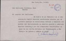 Carta de Arturo Ramírez a Guillermo Fernández-Shaw, agradeciendo el pésame por la muerte de Ernesto Lecuona.