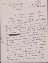Carta de Alfonso Vidal y Planas a Guillermo Fernández-Shaw, agradeciendo mucho su carta y sus noticias.