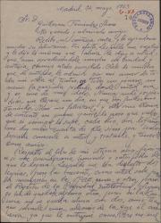 Carta de Pablo Torremocha a Guillermo Fernández-Shaw, agradeciéndole su felicitación y comentando cuestiones profesionales y personales.