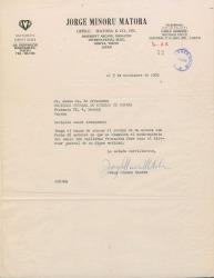Carta de Jorge Minoru Matoba a Jesús María de Arozamena, acusando recibo de carta que comunica el nombramiento de Guillermo Fernández-Shaw como Director General de la Sociedad General de Autores de España.