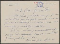 Carta de José Luis Garrido a Guillermo Fernández-Shaw, felicitándole por su nombramiento como Director General de la Sociedad General de Autores de España.