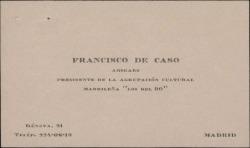 Carta de Francisco de Caso a Guillermo Fernández-Shaw, felicitándole por su nombramiento como Director General de la Sociedad General de Autores de España.
