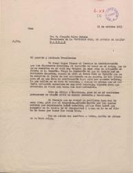 Copia de carta dirigida a Joaquín Calvo Sotelo. Renuncia al cargo de jefe de sección de Cine en la Sociedad General de Autores de España, sin firma.