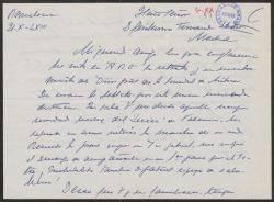 Carta de Francisco [?] a Guillermo Fernández-Shaw, felicitándole por su nombramiento como Director General de la Sociedad General de Autores de España.