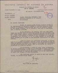 Carta de José María Arniches a Guillermo Fernández-Shaw, felicitándole por su nombramiento como Director General de la Sociedad General de Autores de España.