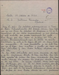 Carta de Petronila Lavado a Guillermo Fernández-Shaw, solicitando lea su libro de poesías y adjuntando uno de sus poemas.