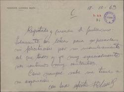 Carta de Federico Llorens a Guillermo Fernández-Shaw, felicitándole por su nombramiento como Director General de la Sociedad General de Autores de España.