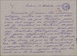 Carta de Santiago [?] a Guillermo Fernández-Shaw, felicitándole por su nombramiento como Director General de la Sociedad General de Autores de España.