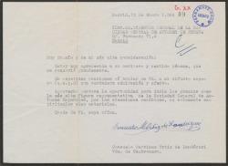 Carta de Consuelo Martínez Ortiz de Landázuri, viuda de Cambronero, a Guillermo Fernández-Shaw, agradeciéndole un pésame.