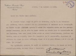 Carta de Guillermo Fernández-Shaw a Víctor Ruiz Albéniz remitiéndole unas comedias presentadas al concurso de la Asociación Amigos de los Quintero.