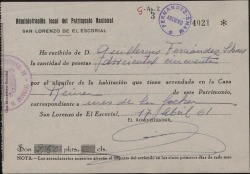 Recibo a nombre de Guillermo Fernández-Shaw, por el alquiler de una habitación en El Escorial.
