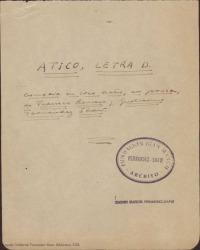 Ático, letra D : comedia en tres actos, en prosa / de Federico Romero y Guillermo Fernández-Shaw.