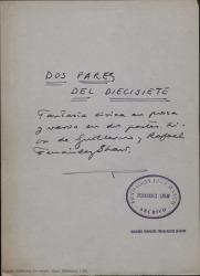 Dos pares del diecisiete : fantasía lírica en prosa y verso en dos partes / libro de Guillermo y Rafael Fernández-Shaw.