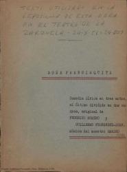 Doña Francisquita : comedia lírica en tres actos, el último dividido en dos cuadros / original de Federico Romero y Guillermo Fernández-Shaw. Música de Amadeo Vives.