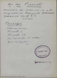Los dos Pierrots : comedia en verso en un acto / original de Edmundo Rostand, traducción de Guillermo Fernández-Shaw.