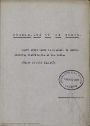 Duerme, que yo te canto : ópera sobre temas de opereta en cuatro cuadros, distribuidos en dos actos / original de Guillermo Fernández-Shaw. Música de Juan Tellería.