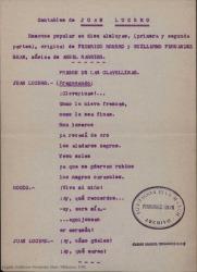 Juan Lucero : romance popular en diez aleluyas, (primera y segunda parte) / original de Federico Romero y Guillermo Fernández-Shaw, música de Ángel Barrios.