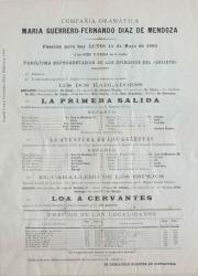 """Programa de mano de la """"Loa a Cervantes"""", de Carlos Fernández Shaw : Compañía Dramática María Guerrero-Fernando Díaz de Mendoza, Teatro Español, Madrid."""