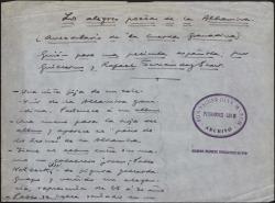 """Los alegres poetas de la Alhambra (anecdotario de """"La cuerda granadina"""") : guión para una película española / por Guillermo y Rafael Fernández-Shaw."""