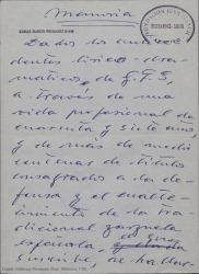 Memoria [que eleva al consejo del Patronato de la Fundación Juan March] / Guillermo Fernández-Shaw.