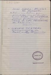 """Cuaderno 204 (1920-1923). Colaboraciones de Guillermo Fernández-Shaw en el periódico """"Las Provincias"""" de Valencia, en las secciones """"Desde Madrid: Apuntes del momento"""", y """"Madrid teatral""""."""
