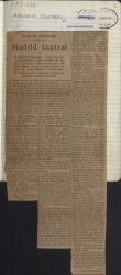 """Cuaderno 205 (1921-1925). Colaboraciones de Guillermo Fernández-Shaw en los periódicos """"Las Provincias"""" de Valencia, secciones """"Madrid teatral"""" y """"De la nobleza española"""", y """"Diario de Barcelona"""", sección """"Crónicas de la Real Casa""""."""