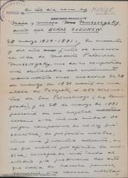 En tal día como hoy... Nace y muere Mussorgsky, autor del Boris Gudonow / Guillermo Fernández-Shaw.