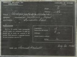 """Documento de calificación del guión """"Los alegres poetas de la Alhambra"""", de Guillermo y Rafael Fernández-Shaw, en el Concurso de guiones del Sindicato del Espectáculo, de 1946."""