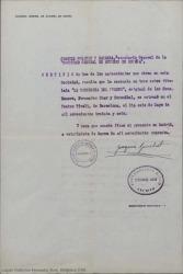 """Documento de la Sociedad General de Autores de España certificando que la zarzuela """"La tabernera del puerto"""", original de Federico Romero, Guillermo Fernández-Shaw y Pablo Sorozábal, se estrenó en el Teatro Tívoli de Barcelona el 6 de mayo de 1936."""