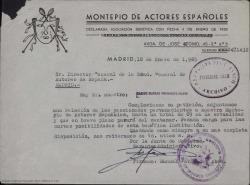 Carta del Montepío de Actores Españoles al Director General de la Sociedad General de Autores de España, adjuntando una relación de actores y actrices pensionados por el Montepío.