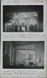 """Fotografías de """"El canastillo de fresas"""" de Guillermo y Rafael Fernández-Shaw, música de Jacinto Guerrero : Teatro Albeniz (Madrid)."""