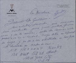 """Carta de Ernesto Lecuona a Guillermo Fernández-Shaw, enviándole un contrato relativo a """"Amor que no es verdad"""", canción cuya letra en español hizo éste, para su firma."""