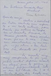 Carta de Arturo Ramírez, primo de Ernesto Lecuona, a Guillermo Fernández-Shaw, dándole noticias de Lecuona, y preguntándole por sus proyectos profesionales.