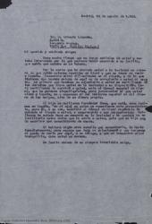 Carta de la Sociedad General de Autores de España a Ernesto Lecuona, adjuntando un certificado y comentando las gestiones que se están llevando a cabo para intentar agilizar la obtención de su visado para viajar a España.