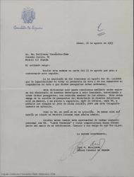 Carta de Juan R. Parellada, Consúl General de España en Miami, a Guillermo Fernández-Shaw, explicándole la imposibilidad de sellar los visados de Ernesto Lecuona y su familia para viajar a España por tener los pasaportes caducados.