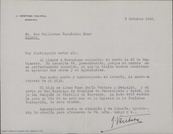 Carta de J. Ventosa Calvell a Guillermo Fernández-Shaw enviándole los datos y la foto de su hija para su publicación con motivo de su boda.