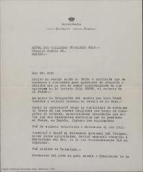"""Carta del Conde de Ruiseñada a Guillermo Fernández-Shaw enviándole una fotografía de un cuadro de su padre y dando su autorización para que aparezca en la revista """"Para todos""""."""