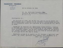 """Carta de Francisco Figueras a Guillermo Fernández-Shaw, agradeciendo la noticia del próximo artículo sobre unas vidrieras que aparecerá en """"Cortijos y Rascacielos""""."""