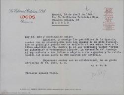 """Carta de Manuel Vigil a Guillermo Fernández-Shaw, proponiéndole una colaboración regular mensual con los periódicos de la agencia """"Logos""""."""