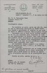Carta de Ediciones G. P. a Guillermo Fernández-Shaw, acusando recibo de su relato y enviando cheque correspondiente.