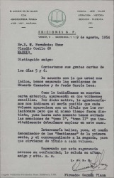 """Carta de Ediciones G. P. a Guillermo Fernández-Shaw, acordando separar los textos recibidos en dos volúmenes para su publicación en la """"Enciclopedia Pulga""""."""