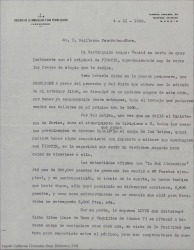 Carta de Luis de la Peña a Guillermo Fernández-Shaw, agradeciéndole el interés que ha mostrado y los elogios que ha dedicado a la obra que le envió para su lectura, lamentándose de que posiblemente no llegue a publicarse.