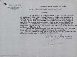 Carta de Ángel Sagardia a Carlos Manuel Fernández-Shaw, enviándole un artículo que ha publicado en un periódico de Zaragoza sobre Carlos y Guillermo Fernández-Shaw.