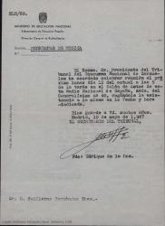 Carta de Enrique de la Hoz, del Ministerio de Educación Nacional, convocando a Guillermo Fernández-Shaw a una reunión del tribunal del Concurso Nacional de Zarzuelas.