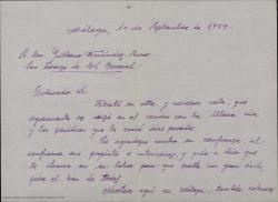 Carta de Manuel Menéndez a Guillermo Fernández-Shaw, comentándole sus intentos de convencer al Ayuntamiento de Málaga para que organice un Concurso de Zarzuelas similar al de Torrelavega con motivo de las próximas fiestas.