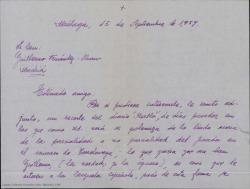 Carta de Manuel Menéndez a Guillermo Fernández-Shaw, remitiéndole un recorte de prensa que polemiza sobre la imparcialidad del jurado del Concurso de Zarzuelas de Torrelavega, viendo como algo positivo que se hable de la Zarzuela en la prensa aunque sea por este tipo de temas.