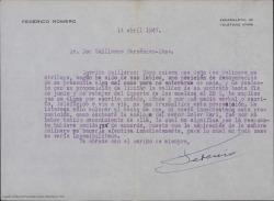 Carta de Federico Romero a Guillermo Fernández-Shaw, pidiéndole explicaciones sobre cierto asunto relacionado con la modificación de las condiciones de un contrato.