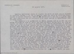 Carta de Federico Romero a Guillermo Fernández-Shaw, comentándole varios temas personales y profesionales.